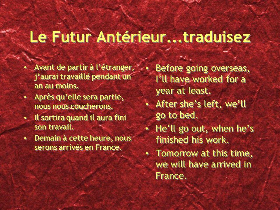 Futur Antérieur Forme: Futur Simple de lauxiliaire + PP. Exprime une action future qui aura lieu avant une autre action future. Dans la phrase En 2012