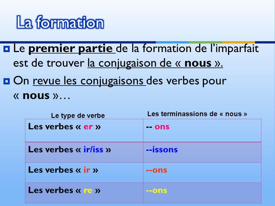 Le premier partie de la formation de limparfait est de trouver la conjugaison de « nous ».