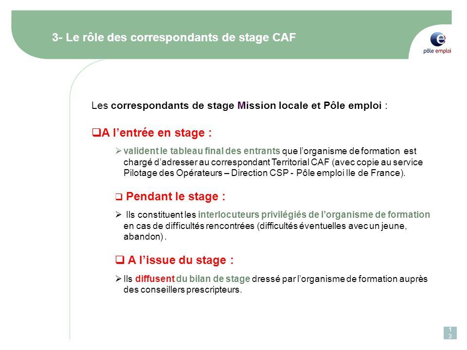13 3- Le rôle des correspondants de stage CAF Les correspondants de stage Mission locale et Pôle emploi : A lentrée en stage : valident le tableau fin