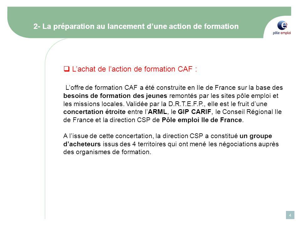 4 2- La préparation au lancement dune action de formation Lachat de laction de formation CAF : Loffre de formation CAF a été construite en Ile de Fran