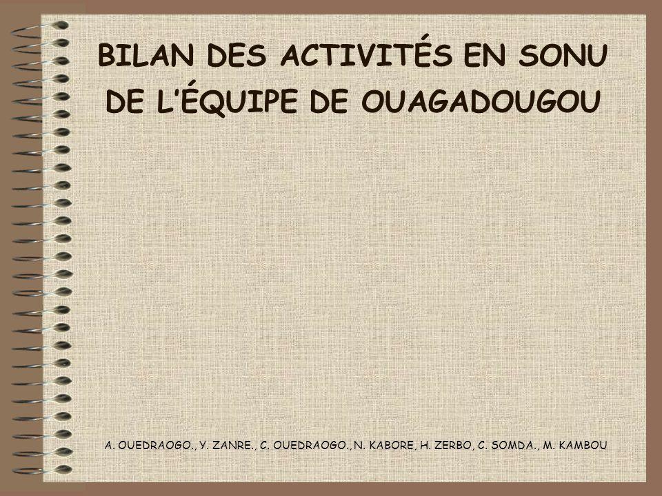BILAN DES ACTIVITÉS EN SONU DE LÉQUIPE DE OUAGADOUGOU A. OUEDRAOGO., Y. ZANRE., C. OUEDRAOGO., N. KABORE, H. ZERBO, C. SOMDA., M. KAMBOU