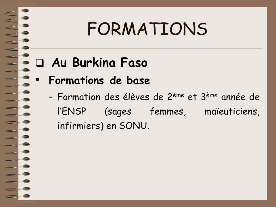 FORMATIONS Au Burkina Faso Formations de base –Formation des élèves de 2 ème et 3 ème année de lENSP (sages femmes, maïeuticiens, infirmiers) en SONU.
