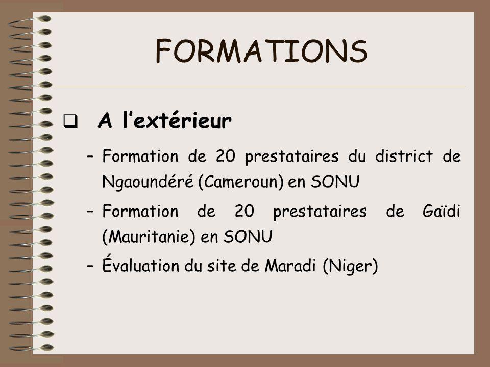 FORMATIONS A lextérieur –Formation de 20 prestataires du district de Ngaoundéré (Cameroun) en SONU –Formation de 20 prestataires de Gaïdi (Mauritanie)