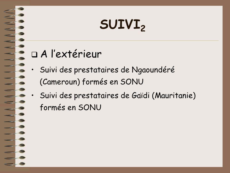 SUIVI 2 A lextérieur Suivi des prestataires de Ngaoundéré (Cameroun) formés en SONU Suivi des prestataires de Gaïdi (Mauritanie) formés en SONU