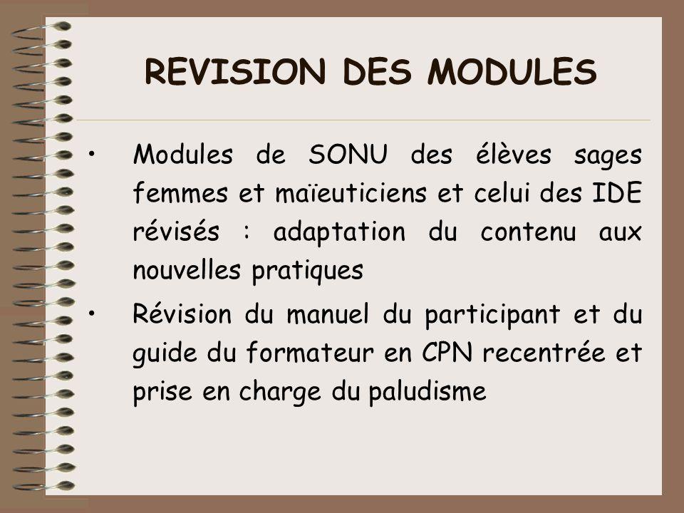 REVISION DES MODULES Modules de SONU des élèves sages femmes et maïeuticiens et celui des IDE révisés : adaptation du contenu aux nouvelles pratiques