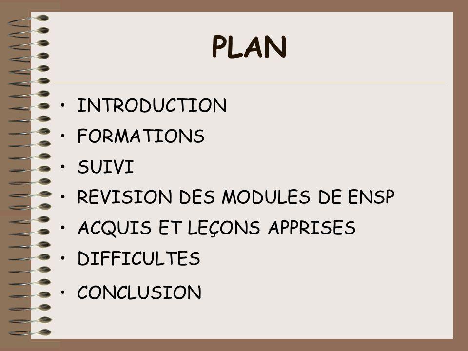 PLAN INTRODUCTION FORMATIONS SUIVI REVISION DES MODULES DE ENSP ACQUIS ET LEÇONS APPRISES DIFFICULTES CONCLUSION