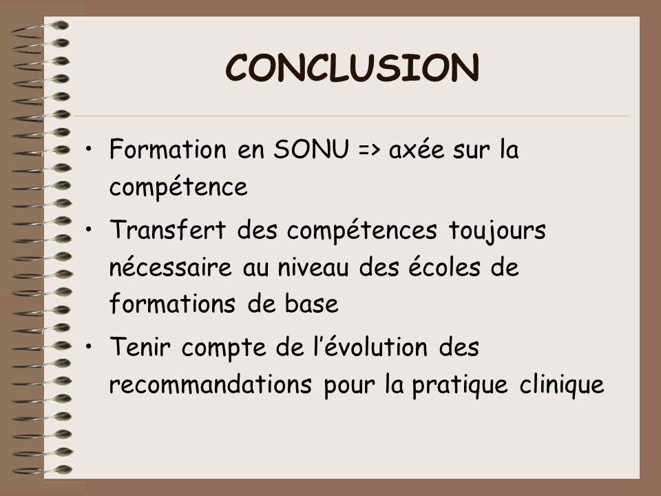 CONCLUSION Formation en SONU => axée sur la compétence Transfert des compétences toujours nécessaire au niveau des écoles de formations de base Tenir