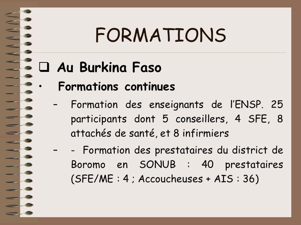 FORMATIONS Au Burkina Faso Formations continues –Formation des enseignants de lENSP. 25 participants dont 5 conseillers, 4 SFE, 8 attachés de santé, e