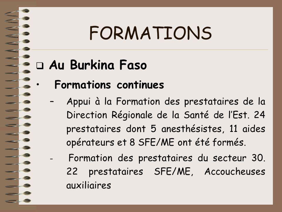 FORMATIONS Au Burkina Faso Formations continues –Appui à la Formation des prestataires de la Direction Régionale de la Santé de lEst. 24 prestataires