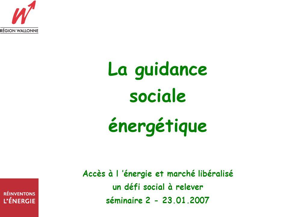 La guidance sociale énergétique Accès à l énergie et marché libéralisé un défi social à relever séminaire 2 - 23.01.2007