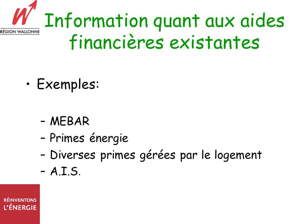 Information quant aux aides financières existantes Exemples: –MEBAR –Primes énergie –Diverses primes gérées par le logement –A.I.S.