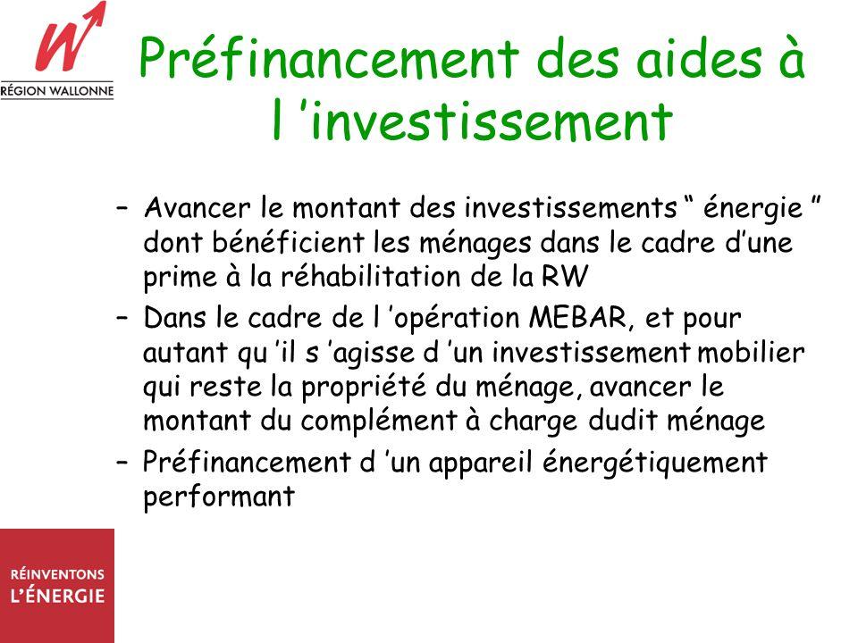 Préfinancement des aides à l investissement –Avancer le montant des investissements énergie dont bénéficient les ménages dans le cadre dune prime à la réhabilitation de la RW –Dans le cadre de l opération MEBAR, et pour autant qu il s agisse d un investissement mobilier qui reste la propriété du ménage, avancer le montant du complément à charge dudit ménage –Préfinancement d un appareil énergétiquement performant