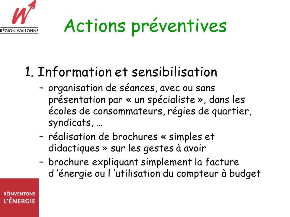 Actions préventives 1. Information et sensibilisation –organisation de séances, avec ou sans présentation par « un spécialiste », dans les écoles de c