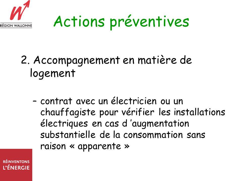 Actions préventives 2. Accompagnement en matière de logement –contrat avec un électricien ou un chauffagiste pour vérifier les installations électriqu