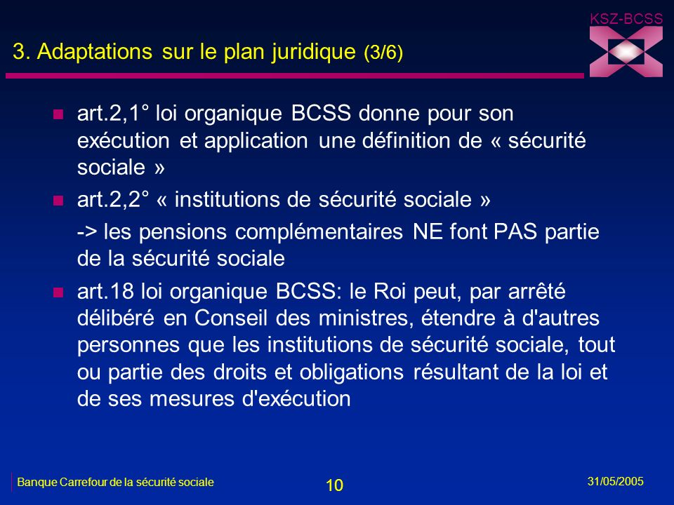 10 KSZ-BCSS 31/05/2005 Banque Carrefour de la sécurité sociale 3. Adaptations sur le plan juridique (3/6) n art.2,1° loi organique BCSS donne pour son