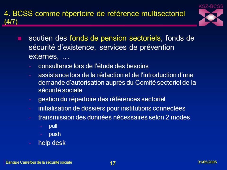 17 KSZ-BCSS 31/05/2005 Banque Carrefour de la sécurité sociale 4. BCSS comme répertoire de référence multisectoriel (4/7) n soutien des fonds de pensi