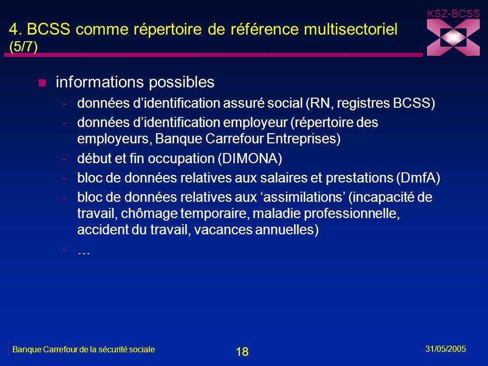 18 KSZ-BCSS 31/05/2005 Banque Carrefour de la sécurité sociale 4. BCSS comme répertoire de référence multisectoriel (5/7) n informations possibles -do