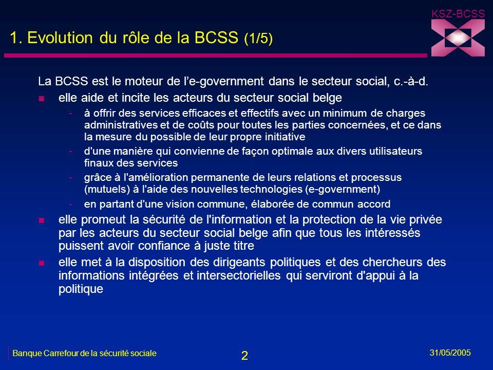 2 KSZ-BCSS 31/05/2005 Banque Carrefour de la sécurité sociale 1. Evolution du rôle de la BCSS (1/5) La BCSS est le moteur de le-government dans le sec