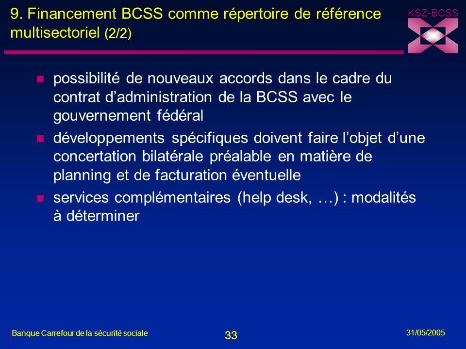 33 KSZ-BCSS 31/05/2005 Banque Carrefour de la sécurité sociale 9. Financement BCSS comme répertoire de référence multisectoriel (2/2) n possibilité de