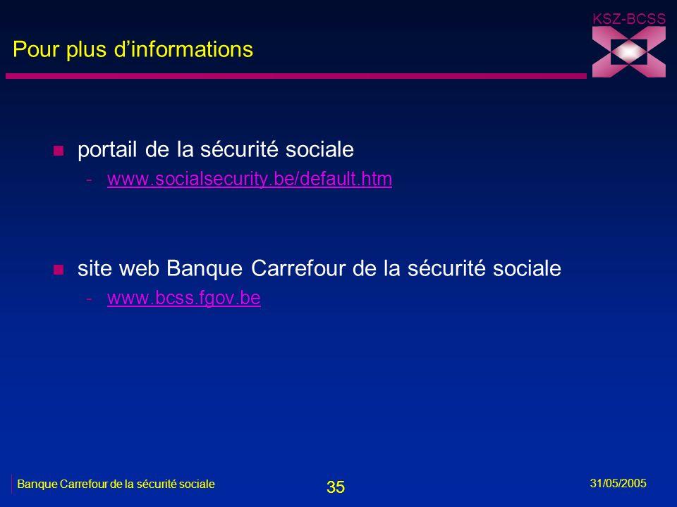 35 KSZ-BCSS 31/05/2005 Banque Carrefour de la sécurité sociale Pour plus dinformations n portail de la sécurité sociale -www.socialsecurity.be/default