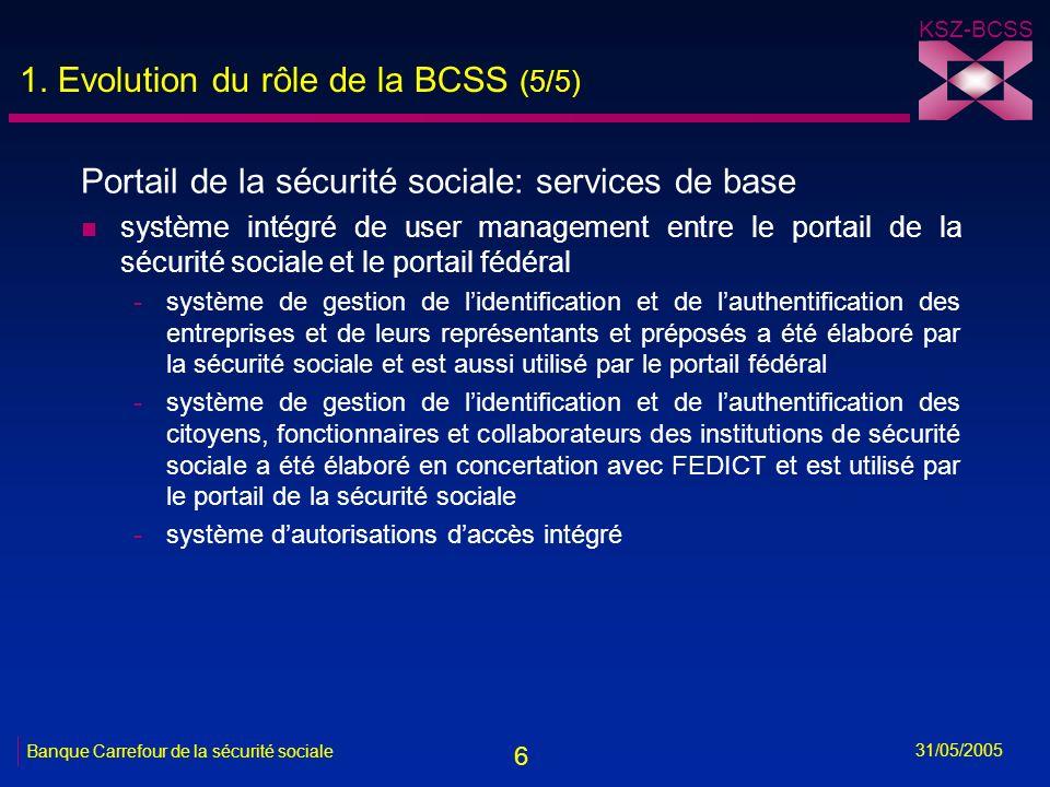 6 KSZ-BCSS 31/05/2005 Banque Carrefour de la sécurité sociale 1. Evolution du rôle de la BCSS (5/5) Portail de la sécurité sociale: services de base n