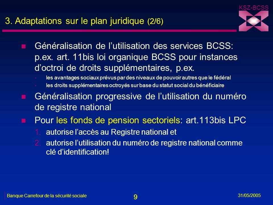 9 KSZ-BCSS 31/05/2005 Banque Carrefour de la sécurité sociale 3. Adaptations sur le plan juridique (2/6) n Généralisation de lutilisation des services
