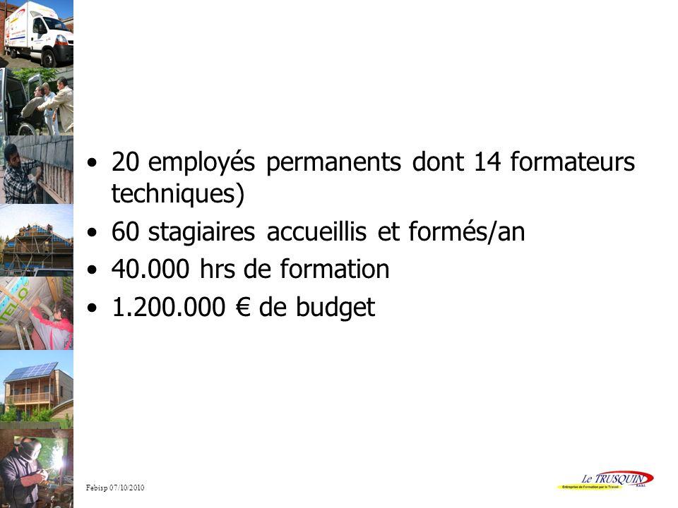 Febisp 07/10/2010 20 employés permanents dont 14 formateurs techniques) 60 stagiaires accueillis et formés/an 40.000 hrs de formation 1.200.000 de budget