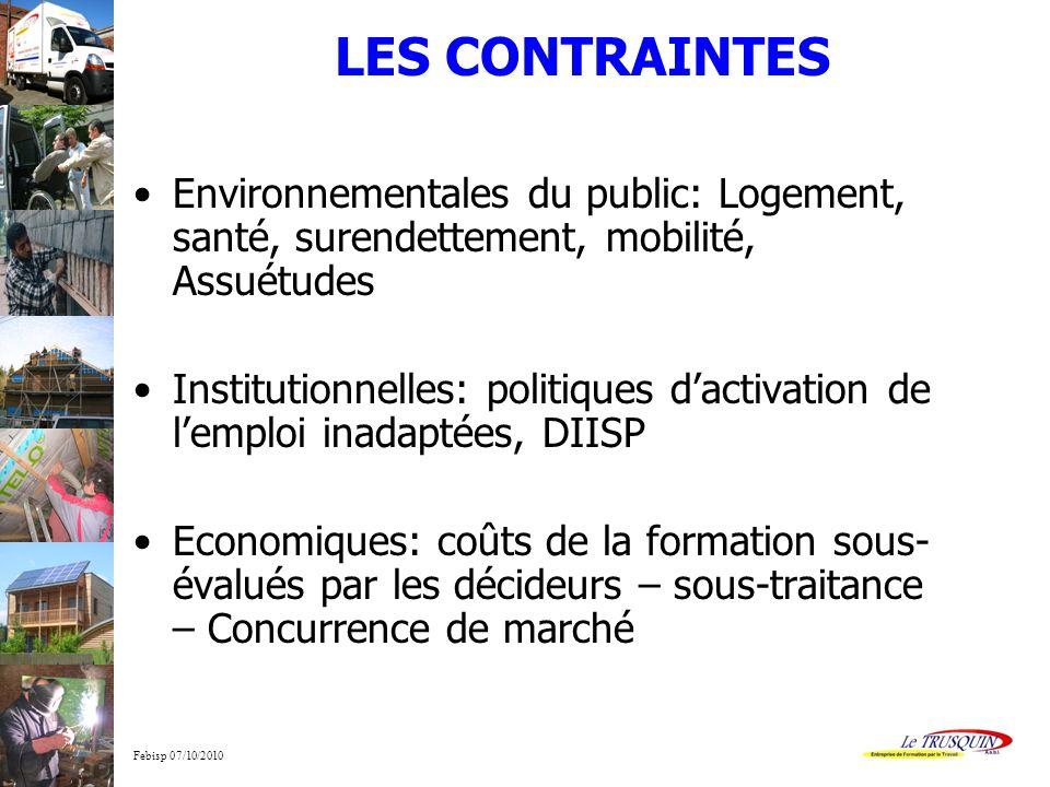 Febisp 07/10/2010 LES CONTRAINTES Environnementales du public: Logement, santé, surendettement, mobilité, Assuétudes Institutionnelles: politiques dac
