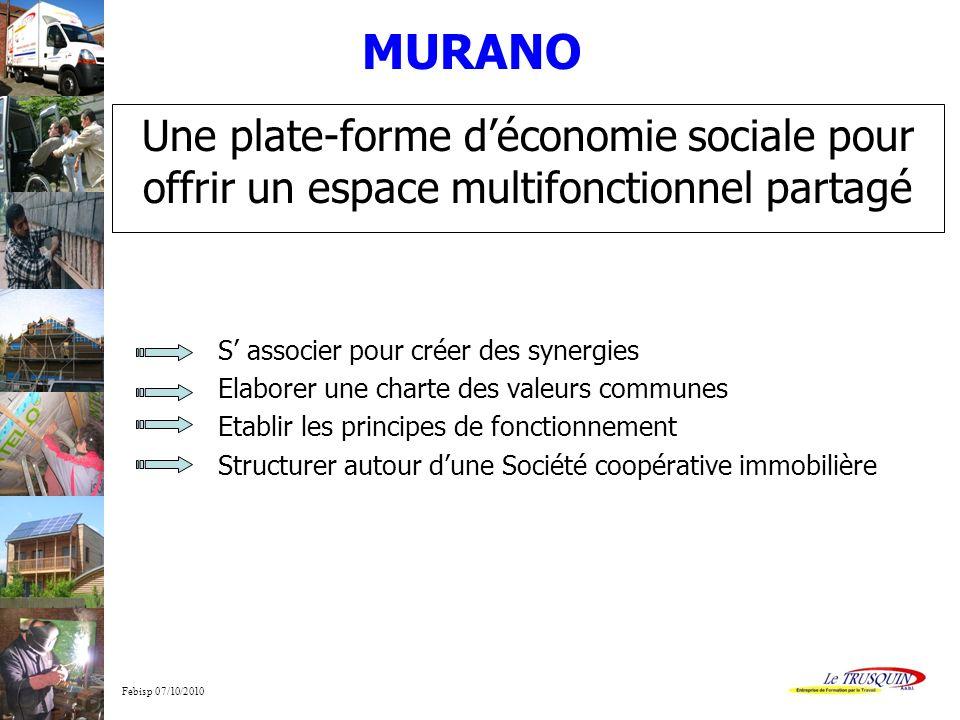 Febisp 07/10/2010 Une plate-forme déconomie sociale pour offrir un espace multifonctionnel partagé S associer pour créer des synergies Elaborer une ch