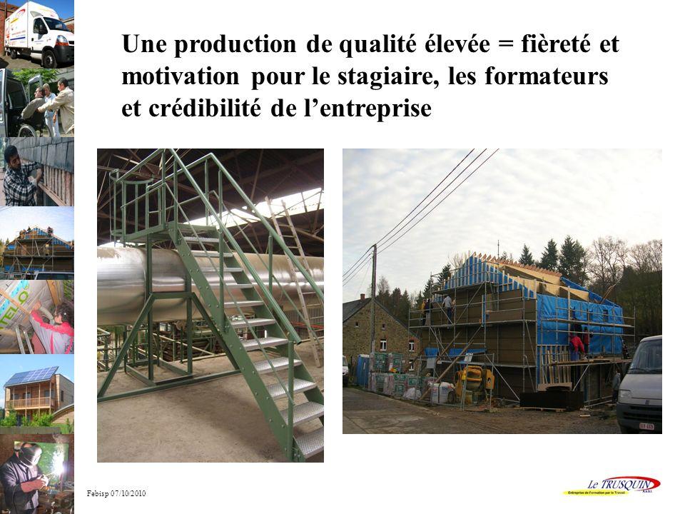 Febisp 07/10/2010 Une production de qualité élevée = fièreté et motivation pour le stagiaire, les formateurs et crédibilité de lentreprise