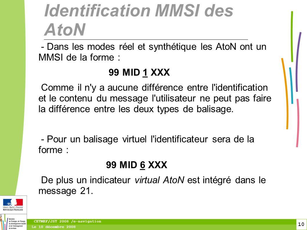 11 Le 10 décembre 2008 CETMEF/JST 2008 /e-navigation 11 Les deux modes d accès au protocole AIS Il existe deux modes de synchronisation des transpondeurs dans le flux AIS : 1.