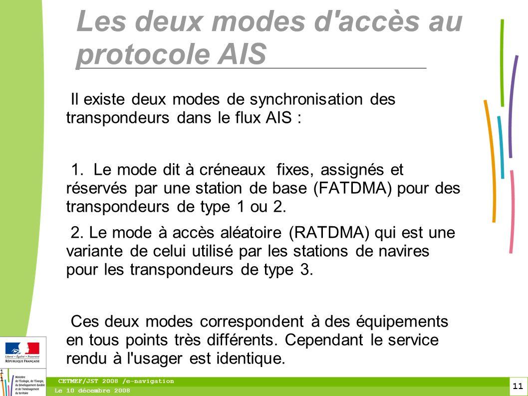12 Le 10 décembre 2008 CETMEF/JST 2008 /e-navigation 12 Les transpondeurs de type 1 ou 2 (FATDMA).
