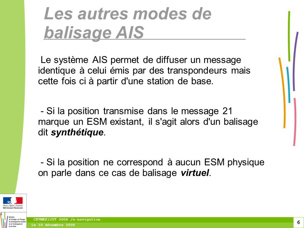 7 Le 10 décembre 2008 CETMEF/JST 2008 /e-navigation 7 Exemple de balisage synthétique