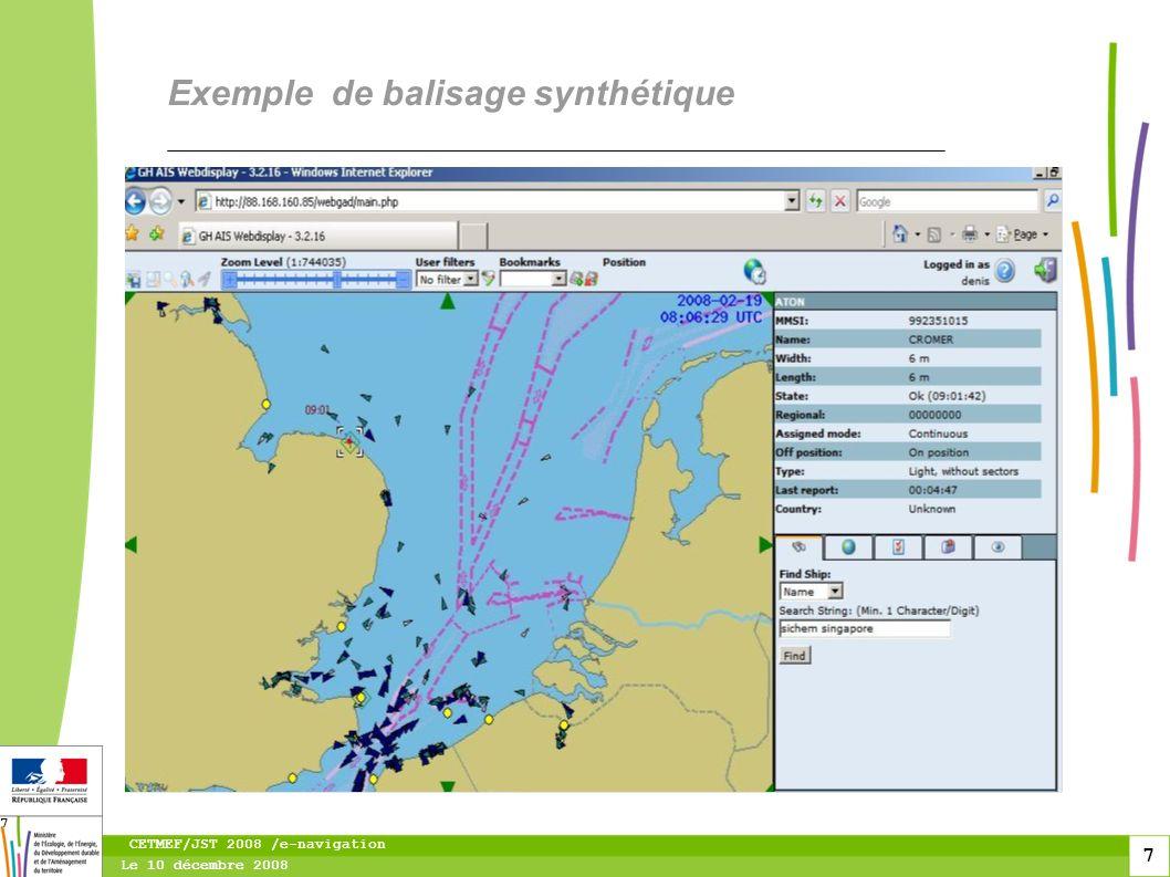 8 Le 10 décembre 2008 CETMEF/JST 2008 /e-navigation 8 Exemple de balisage virtuel sur l épave du ICE PRINCE activé par le CROSS de Jobourg
