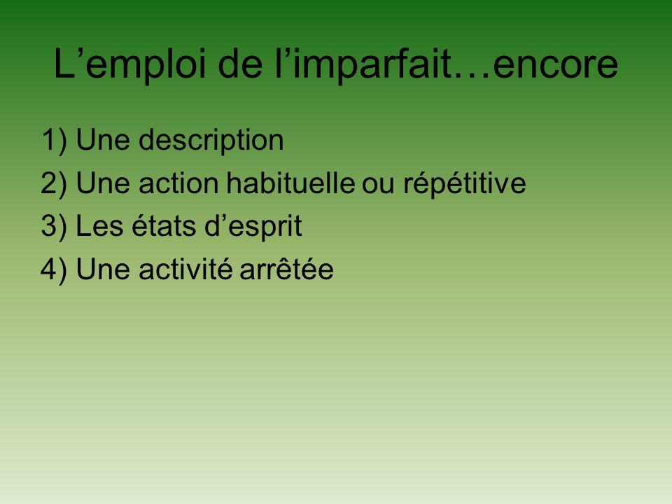Lemploi de limparfait…encore 1) Une description 2) Une action habituelle ou répétitive 3) Les états desprit 4) Une activité arrêtée
