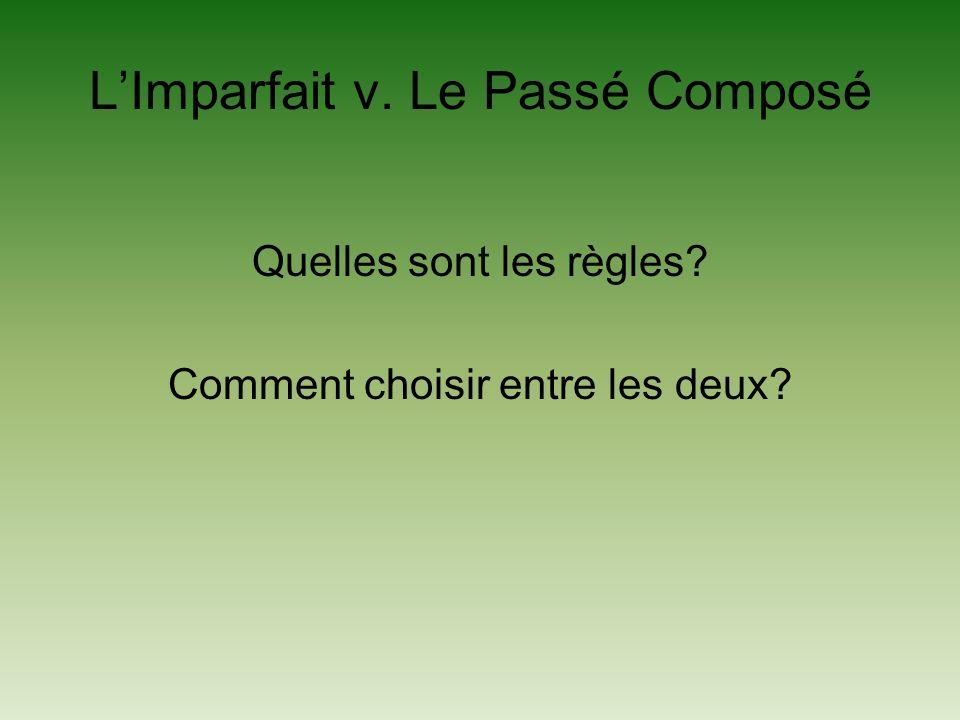LImparfait v. Le Passé Composé Quelles sont les règles? Comment choisir entre les deux?