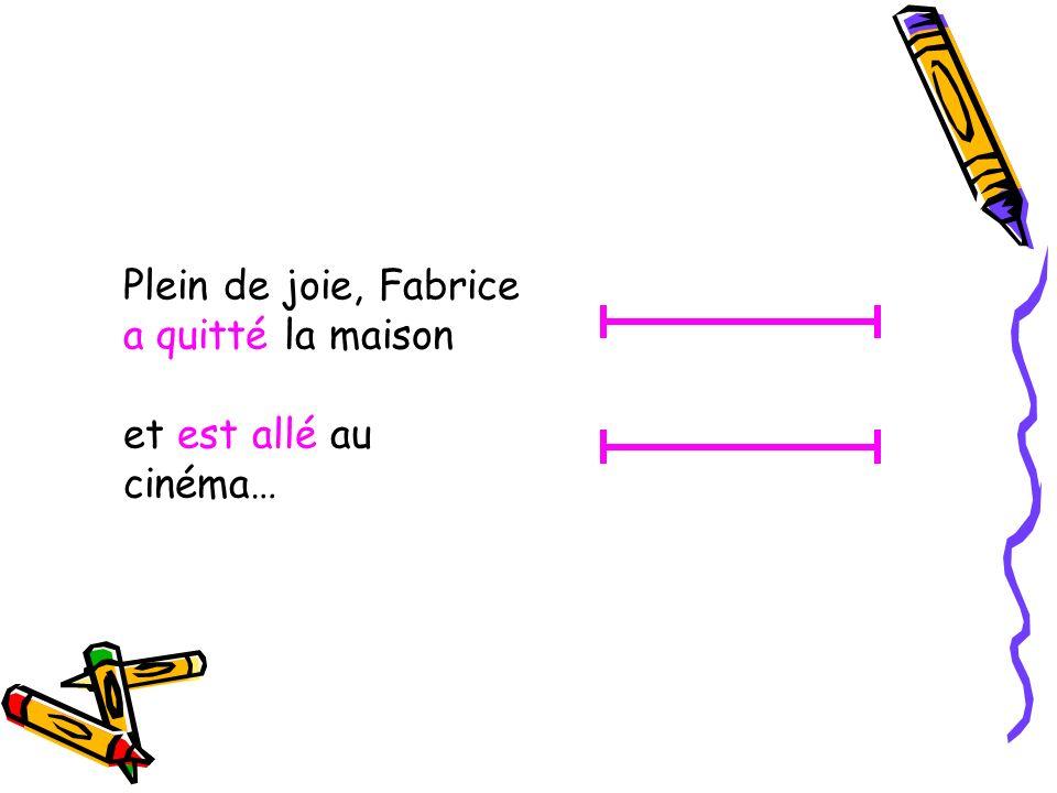 Plein de joie, Fabrice a quitté la maison et est allé au cinéma…