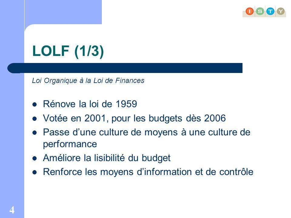 4 LOLF (1/3) Loi Organique à la Loi de Finances Rénove la loi de 1959 Votée en 2001, pour les budgets dès 2006 Passe dune culture de moyens à une culture de performance Améliore la lisibilité du budget Renforce les moyens dinformation et de contrôle