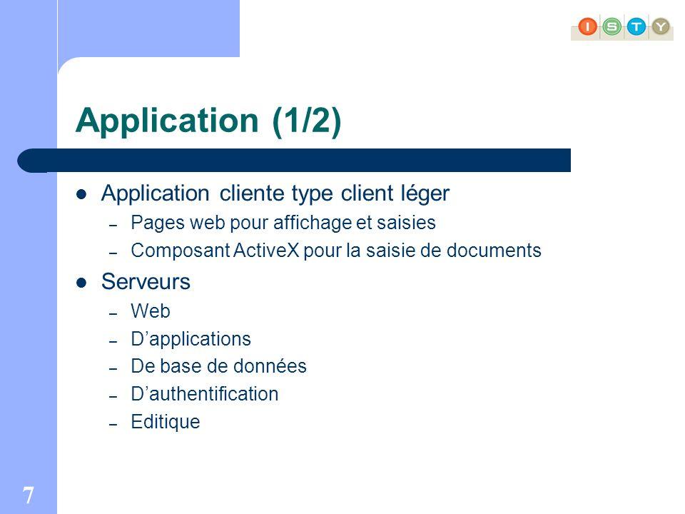 7 Application (1/2) Application cliente type client léger – Pages web pour affichage et saisies – Composant ActiveX pour la saisie de documents Serveurs – Web – Dapplications – De base de données – Dauthentification – Editique