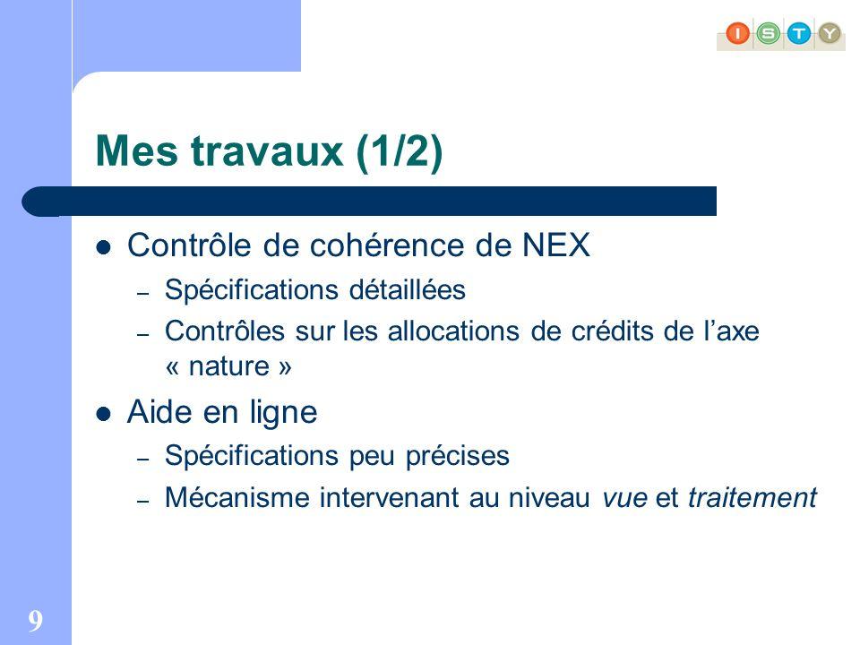 9 Mes travaux (1/2) Contrôle de cohérence de NEX – Spécifications détaillées – Contrôles sur les allocations de crédits de laxe « nature » Aide en ligne – Spécifications peu précises – Mécanisme intervenant au niveau vue et traitement