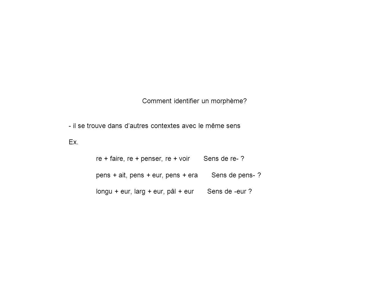 Comment identifier un morphème.- il se trouve dans dautres contextes avec le même sens Ex.