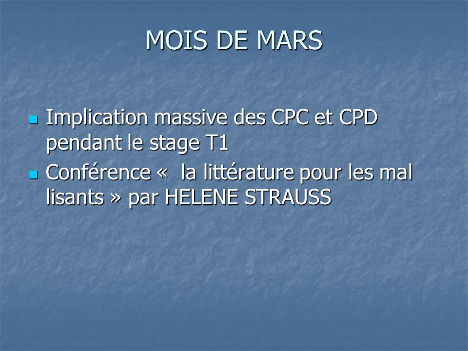 MOIS DE MARS Implication massive des CPC et CPD pendant le stage T1 Implication massive des CPC et CPD pendant le stage T1 Conférence « la littérature