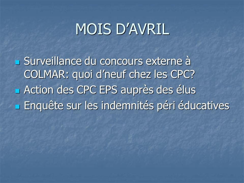 MOIS DAVRIL Surveillance du concours externe à COLMAR: quoi dneuf chez les CPC? Surveillance du concours externe à COLMAR: quoi dneuf chez les CPC? Ac