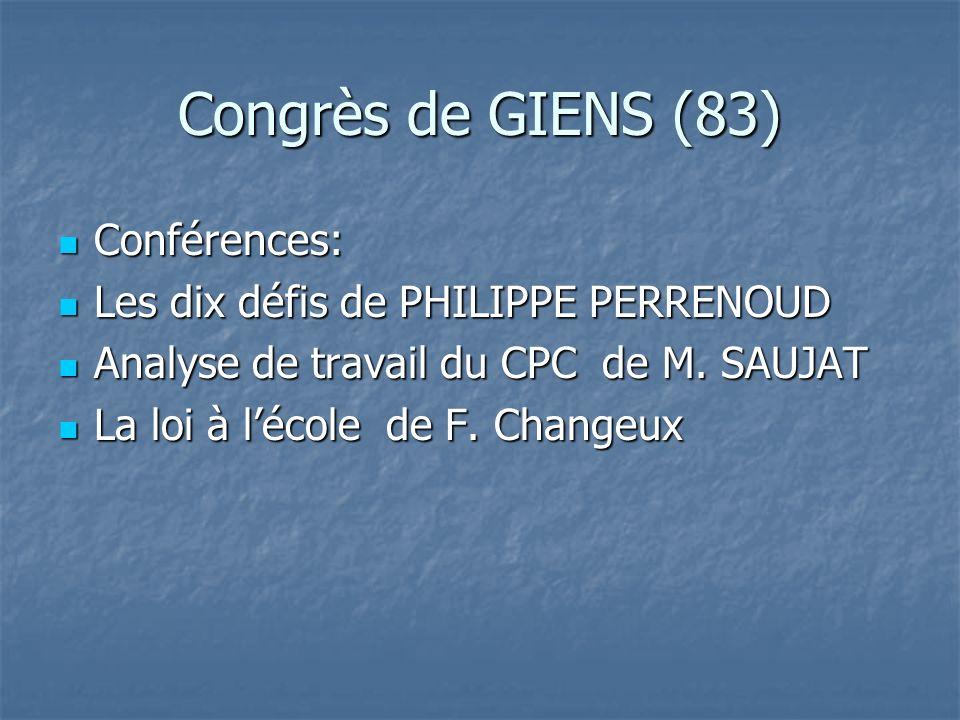 Congrès de GIENS (83) Conférences: Conférences: Les dix défis de PHILIPPE PERRENOUD Les dix défis de PHILIPPE PERRENOUD Analyse de travail du CPC de M