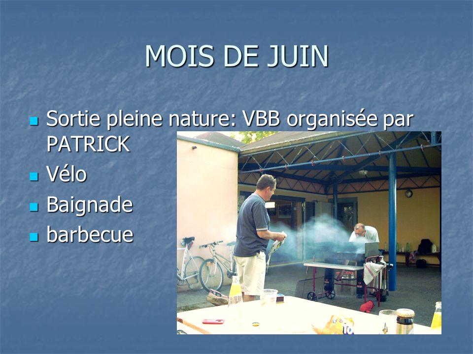 MOIS DE JUIN Sortie pleine nature: VBB organisée par PATRICK Sortie pleine nature: VBB organisée par PATRICK Vélo Vélo Baignade Baignade barbecue barb