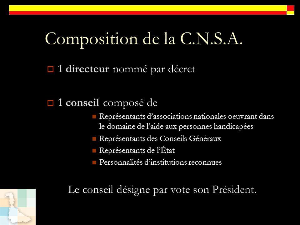 Composition de la C.N.S.A. 1 directeur nommé par décret 1 conseil composé de Représentants dassociations nationales oeuvrant dans le domaine de laide