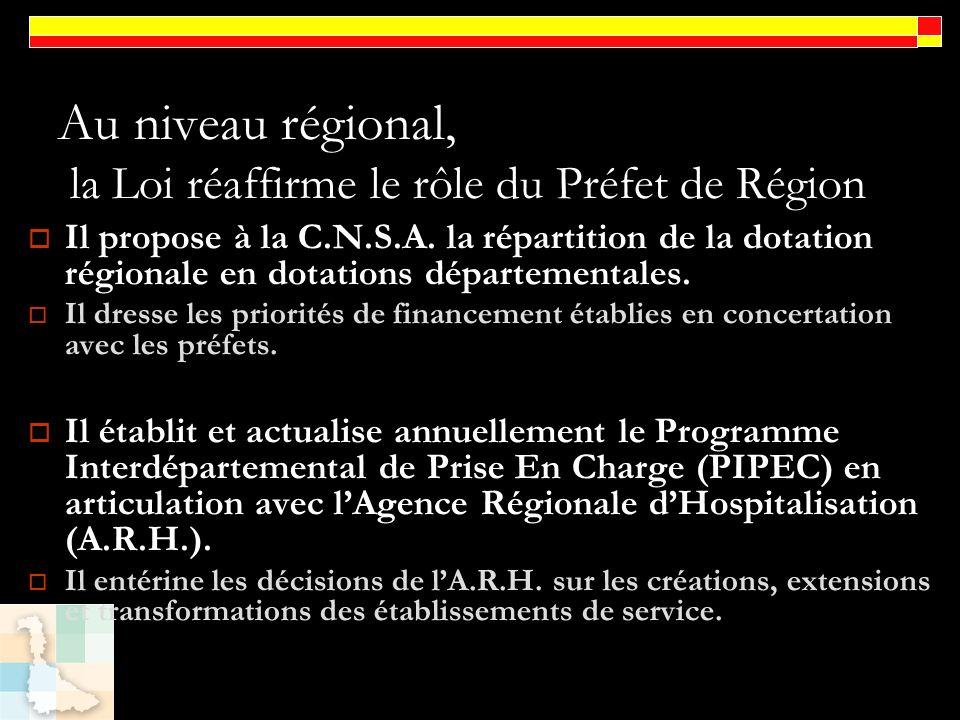 Au niveau régional, la Loi réaffirme le rôle du Préfet de Région Il propose à la C.N.S.A. la répartition de la dotation régionale en dotations départe