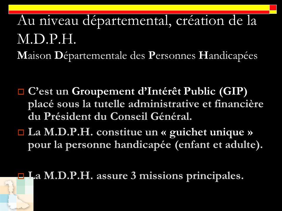 Au niveau départemental, création de la M.D.P.H. Maison Départementale des Personnes Handicapées Cest un Groupement dIntérêt Public (GIP) placé sous l