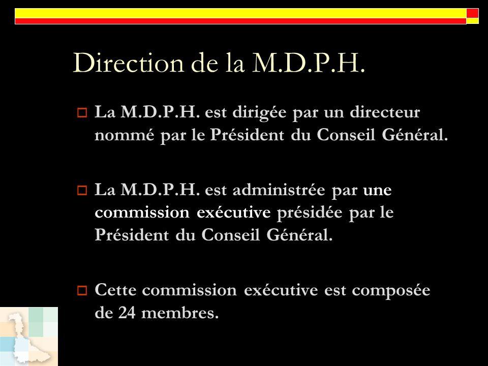 Direction de la M.D.P.H. La M.D.P.H. est dirigée par un directeur nommé par le Président du Conseil Général. La M.D.P.H. est administrée par une commi
