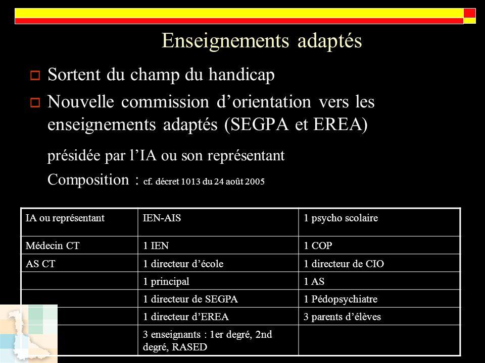 Enseignements adaptés Sortent du champ du handicap Nouvelle commission dorientation vers les enseignements adaptés (SEGPA et EREA) présidée par lIA ou